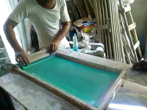 Screen printing. On  mirror glass