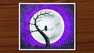 Download Easy Oil Pastel Drawing for Beginners - Owl Moonlight Scenery - Step by Step Video