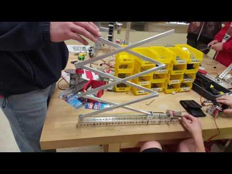 Scissor lift prototype working FTC 7662 Dragons Velocity Vortex