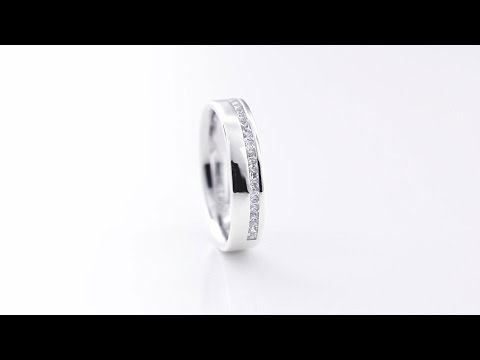 Ladies 18ct White Gold Channel Set Princess Cut Diamond Wedding Ring G SI 0.25ct 054WGHETSIa