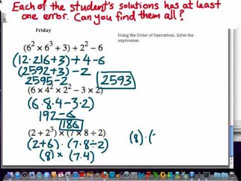 Find the errors: Math lesson worksheet on order of operations