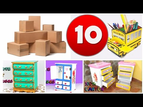 10 awesome crafts with carton boxes   simple compilation  DIY