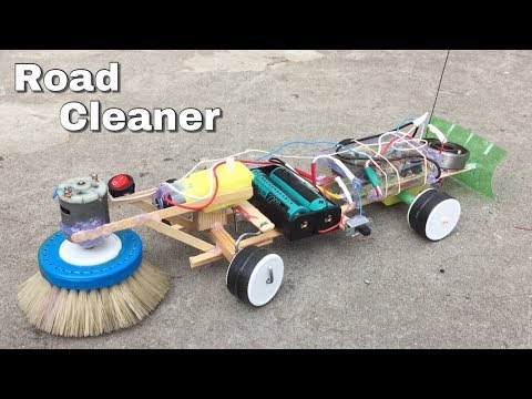 How to Make a Floor Cleaning Machine (Electric Car) - Remote Control Road Cleaner