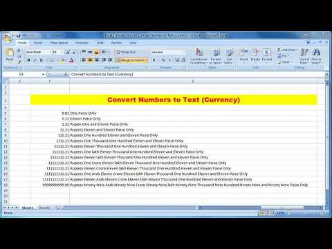 How to Convert Numbers to Text Currency (Indian Rupees) Automatically | Excel Tutorial