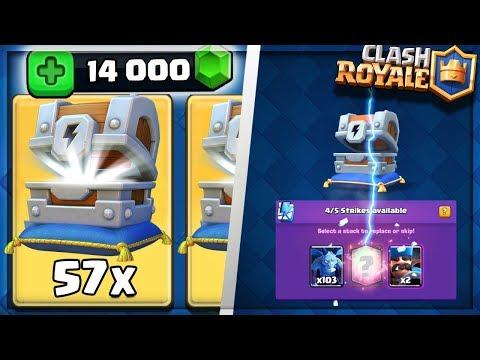 Clash Royale - 57 LIGHTNING CHESTS OPENING! MASSIVE 14000 GEMS LEGENDARY HUNTING! (Havoc Gaming)