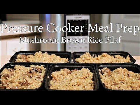 Meal Prep Side Dish - Mushroom Brown Rice Pilaf Recipe - Using A Pressure Cooker