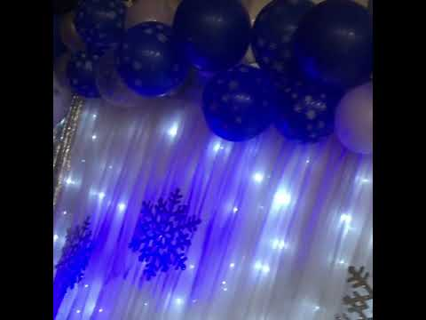 Winter Wonderland Themed Backdrop (Zooming in on Balloon Garland and Up-Lighting)