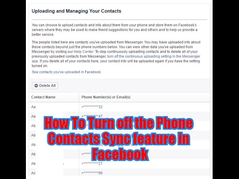How To Turn off the Phone Contacts Sync feature in Facebook