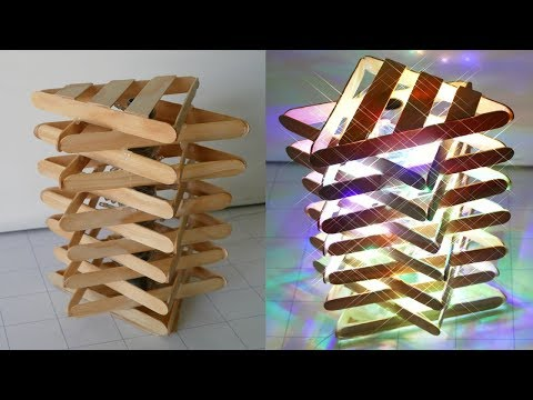 DIY ROOM DECOR!  How to Make a Popsicle Stick Lamp / Easy Crafts Ideas at Home