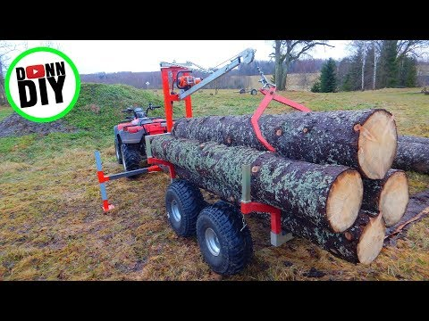 ATV 12 V Winch Powered Timber Trailer CRANE BUILD