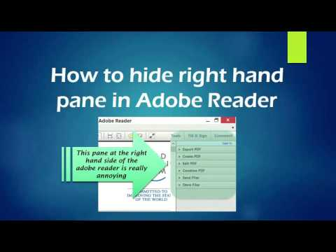 How to get rid of right side panel of Acrobat PDF Reader