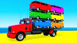 COLOR BUS on TRUCK and Spiderman Cars Cartoon for Kids & Fun Colors for Children Nursery Rhymes