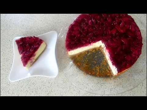 Cheesecake Recipe, Strawberry Cheesecake, Easy cheesecake with strawberry sauce  کیک میوه کیک پنیر