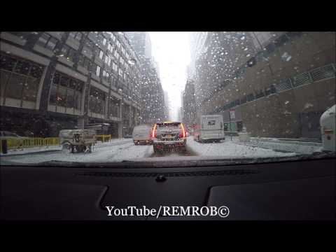 Driving In Snow Times Square To LaGuardia Airport
