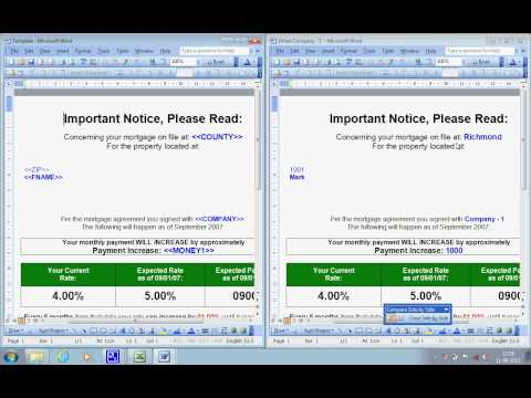Mail merge software, creates documents by exporting data from Excel to Word