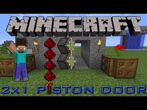 How To Build A 1x2 Piston Door In Minecraft(Secret Entrance)