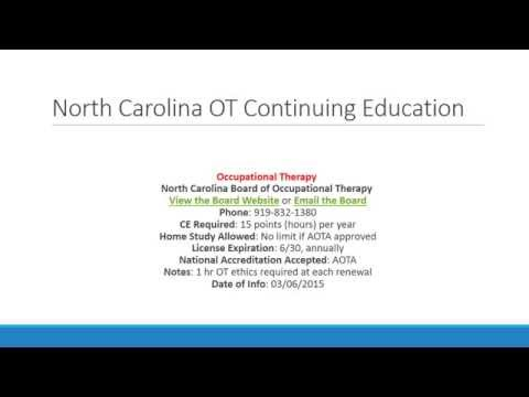 North Carolina Occupational Therapists Continuing Education and License Renewals