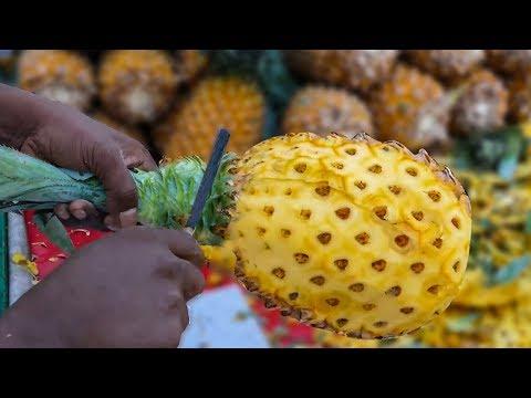 Pineapple Slicing | ROAD SIDE HEALTHY STREET FOOD | 4K VIDEO | MUMBAI STREET FOOD