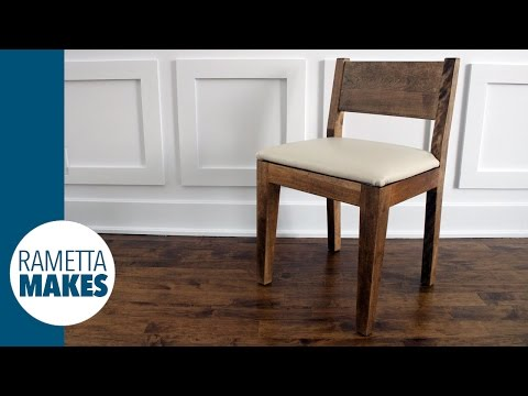 How to Make a Modern Wood Chair with Leather Seat // DIY
