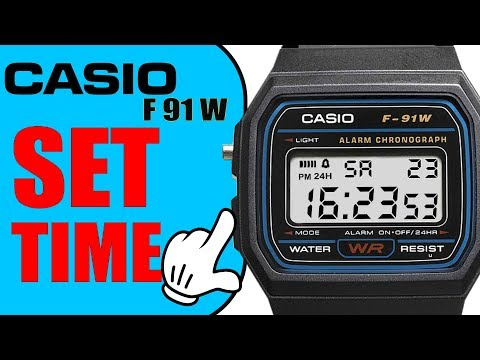 Casio F91W How to set time (quick 60 seconds tutorial in 4k)