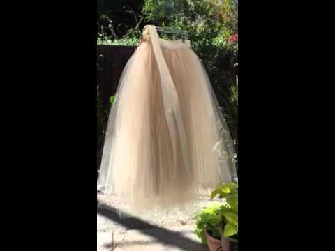 Full length women's champagne tulle skirt in