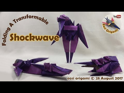 How to make a Papercraft, Origami Shockwave (requires 3 straight cuts)