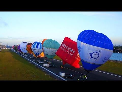 Hot air balloons on the runway - London City Airport