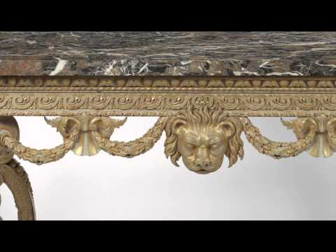 A George II white and gold console table