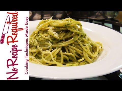 Spaghetti Pesto - NoRecipeRequired.com