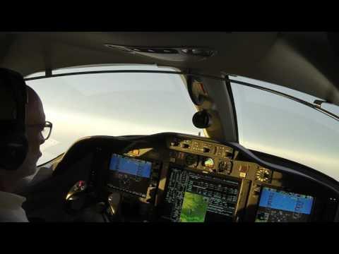 Citation Mustang San Antonio to Houston at dusk