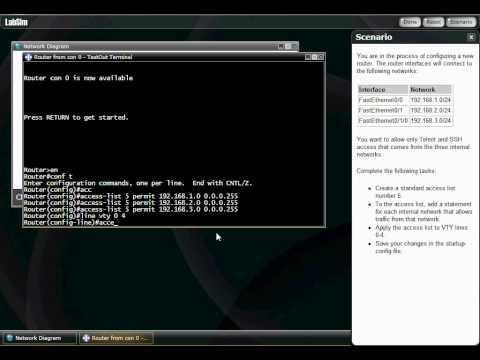 Standard Access Control List: Allow Telnet