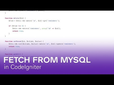 Fetch from MySQL Database with CodeIgniter in PHP [WORKFLOW]