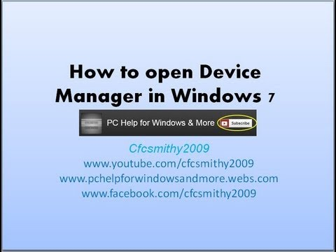How to open Device Manager in Windows 7
