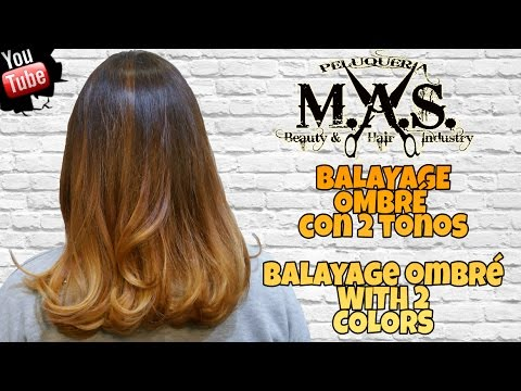 Cabello con mechas Balayage y degradado de color. Brown balayage ombre Hair Tutorial