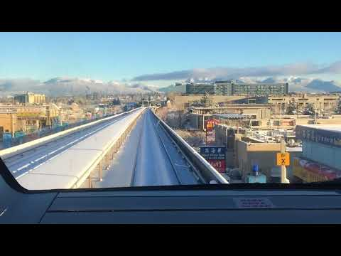 Beautiful Canada line skytrain view after snow from Richmond–Brighouse to Waterfront  Feb 24 2018