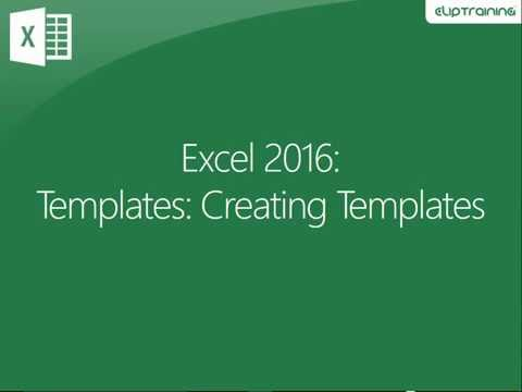 Excel 2016 - Creating Templates