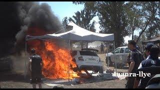 wrc  rally Mexico 2018 - monday test wrc2 - incendio en Skoda fabia r5 - Benito Guerra