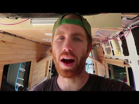 DIY SPRINTER VAN CONVERSION Cabinets, Bed & Drop ceiling! // EASY VEGANS DV #17