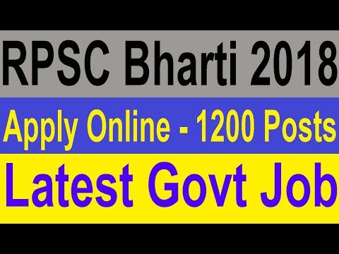 Apply Online RPSC Bharti 2018, Latest Govt Job 1200 Posts, RPSC Vacancy 2019 19
