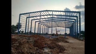 steel structure construction process step by step in site / skelton frame#civiltechconstructions