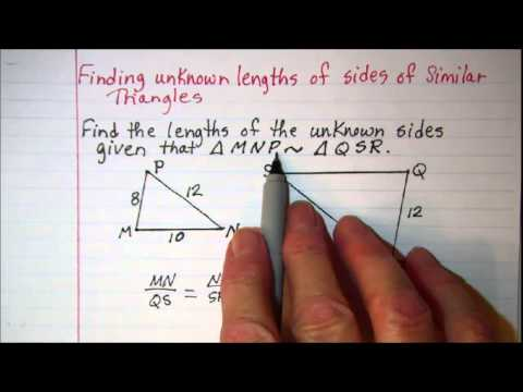 Finding unknown lengths of sides of similar triangles