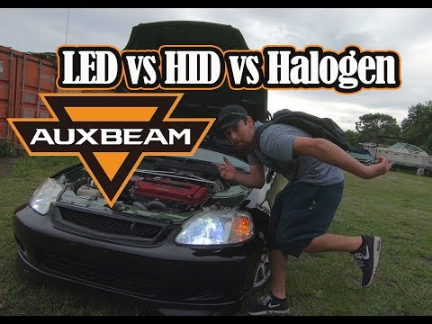AuxBeam LED Headlight Review and Comparison HID vs LED vs Halogen