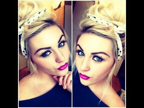 Pin up hair & Makeup tutorial & Pink Ombre Lipstick