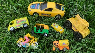 Looking for Some YELLOW Toy Vehicles in a Paddy Field - Finding Toy Vehicles near an Abandoned House
