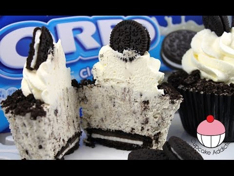 OREO Cheesecake Cupcakes! Cookies & Cream Cheese Cake Recipe by Cupcake Addiction