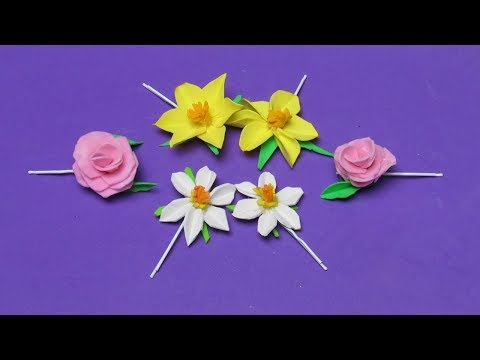 How To Make Cute Hair Clips With Artificial Flowers - DIY Hair Clips With Narcissus Tutorial