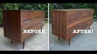 Mid Century Modern Dresser Makeover: Strip and Refinish -Thrift Diving