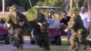 STEALING GOLF CARTS IN GHILLE SUITS PRANK! (CHASED BY GOLFERS)