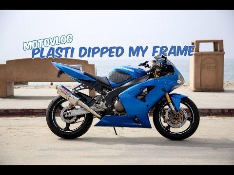 MotoVlog #7: (Tutorial-ish) Plasti Dipped My Motorcycle Frame  - ZX6R