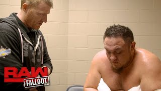 Samoa Joe gets checked out after suffering a foot injury on Raw: Raw Fallout, Jan. 8, 2018